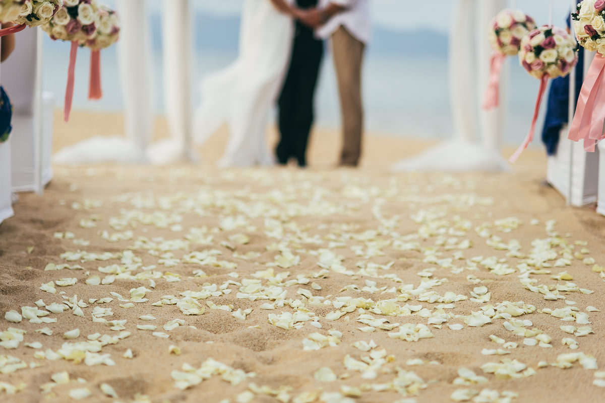 wedding petals on beach