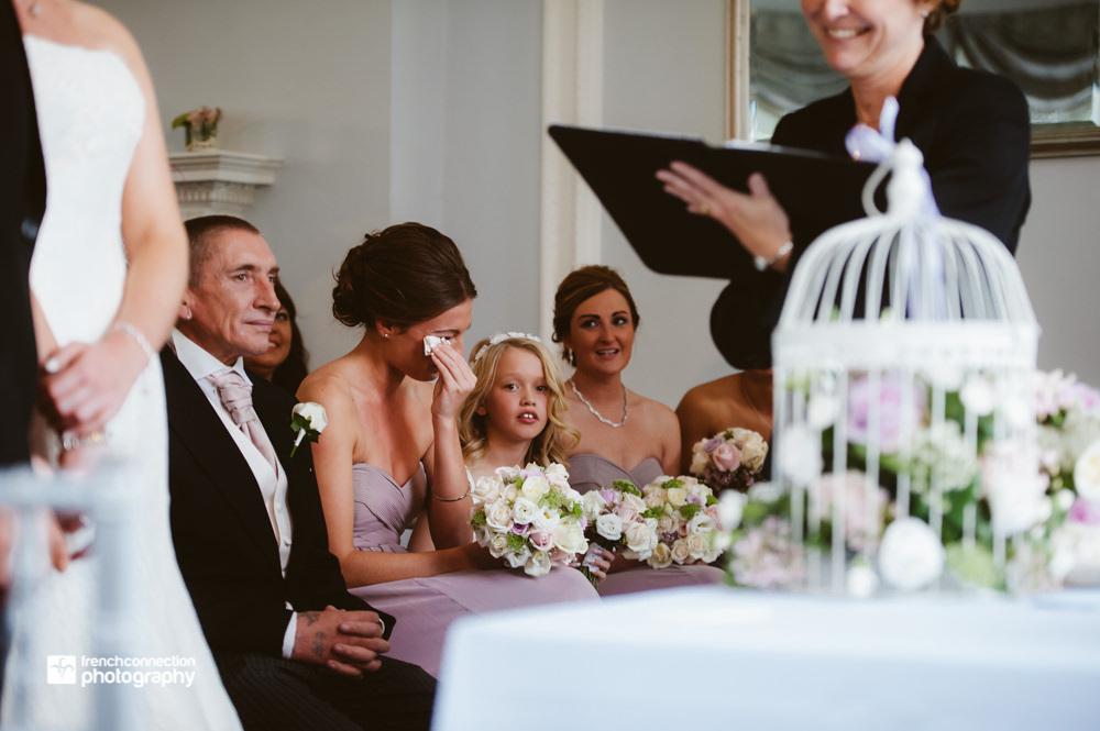 bridesmaid crying at wedding
