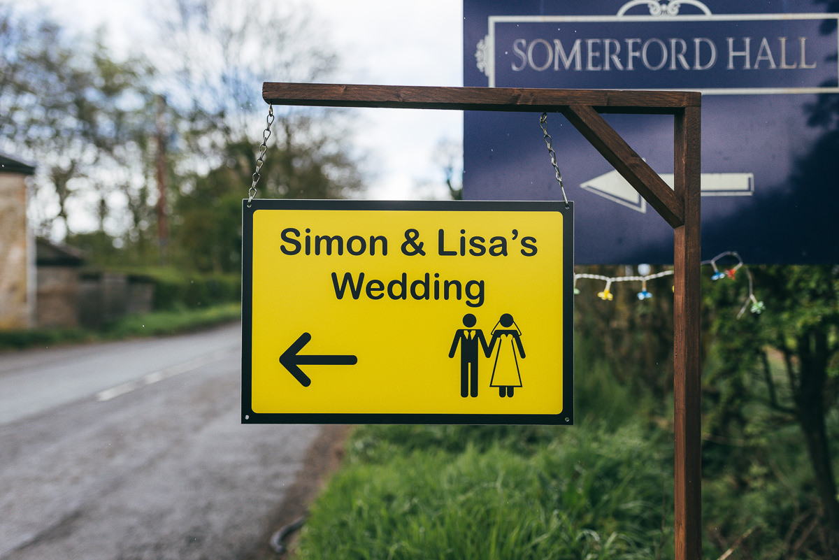 wedding sign at somerford gate